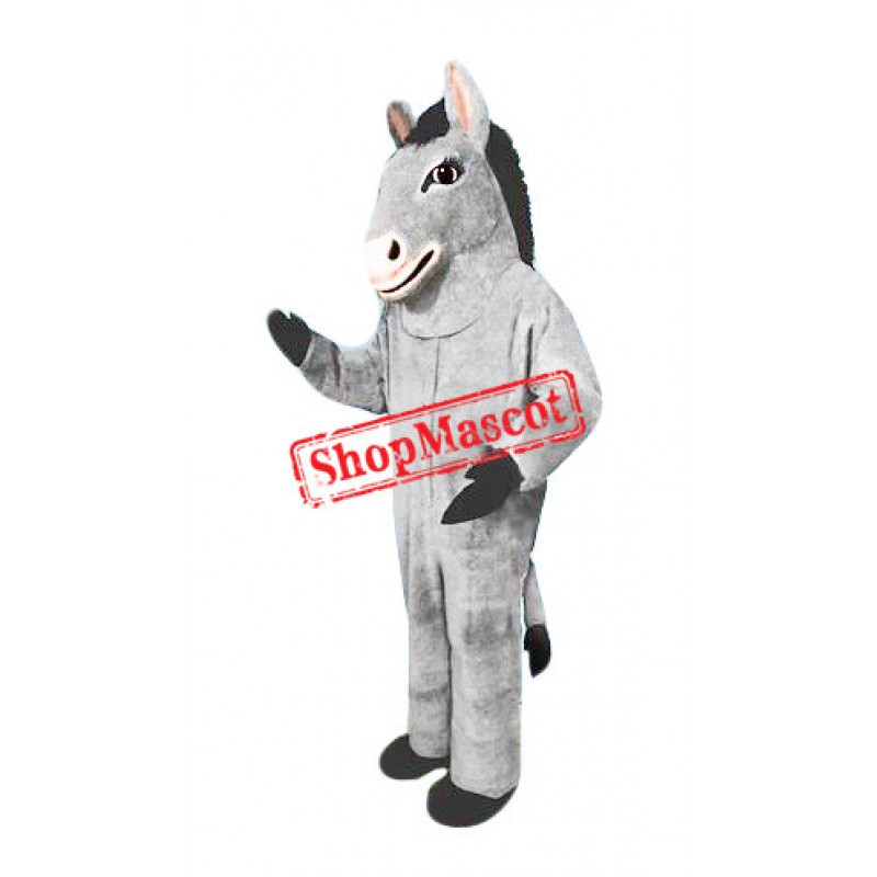 Friendly Grey Donkey Mascot Costume