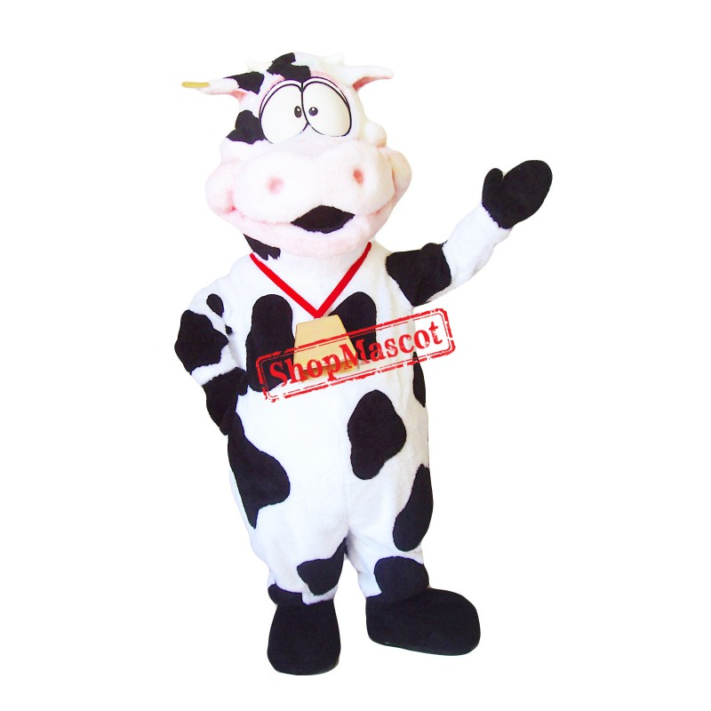 Pink & White Cow Mascot Costume