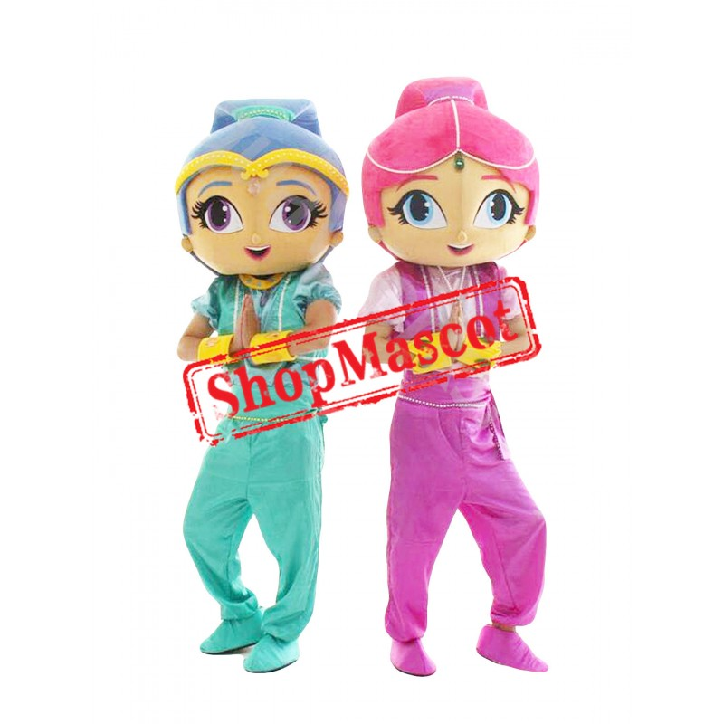 Twin Jasmine Shimmer Girls Mascot Costume