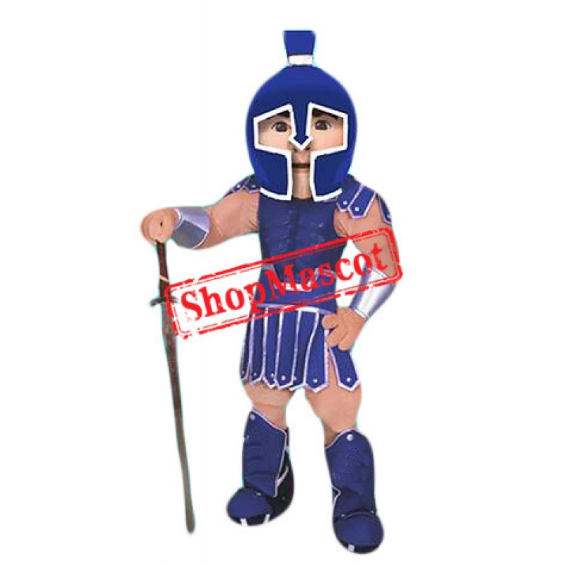 Superb Blue Spartan Mascot Costume