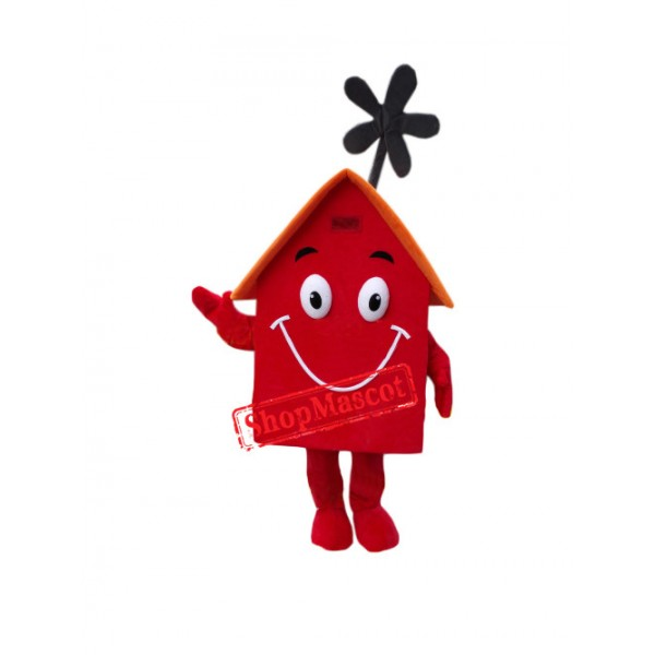 Superb Red House Mascot Costume