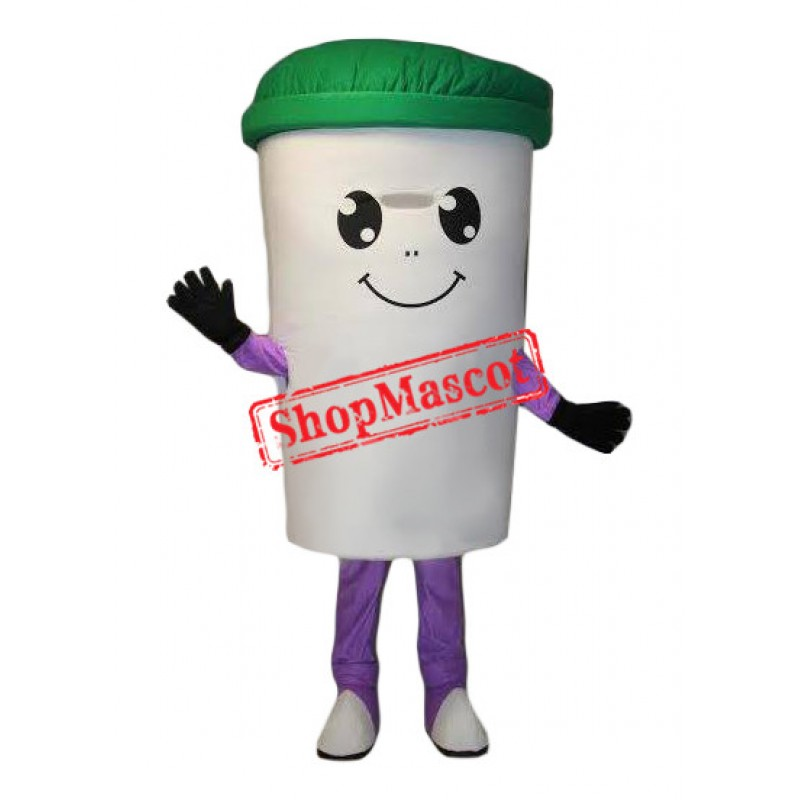 White Recycle Cup Mascot Costume