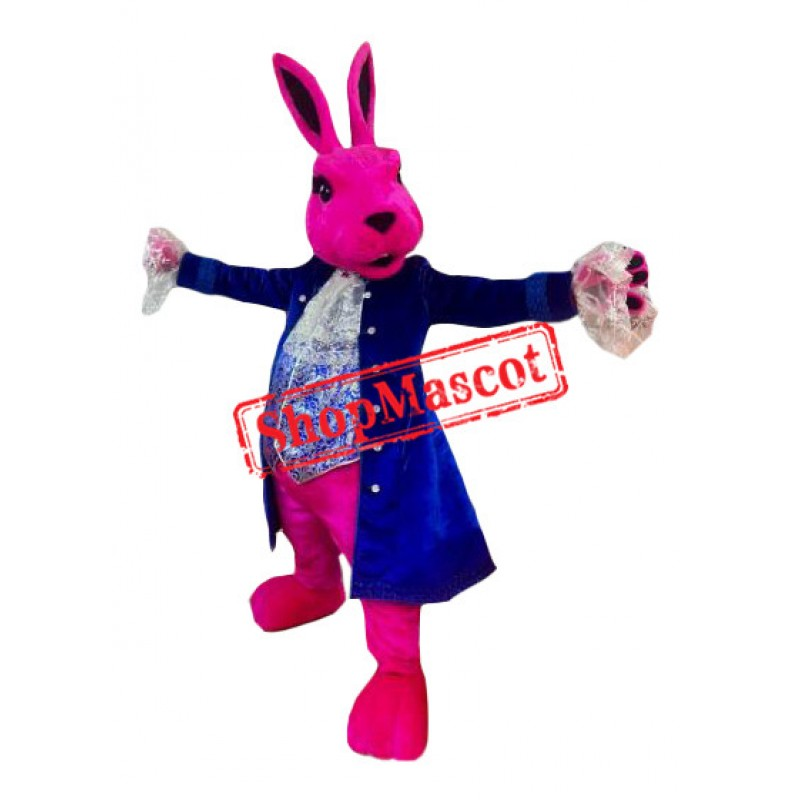 Pink Rabbit Mascot Costume With Blue Suit