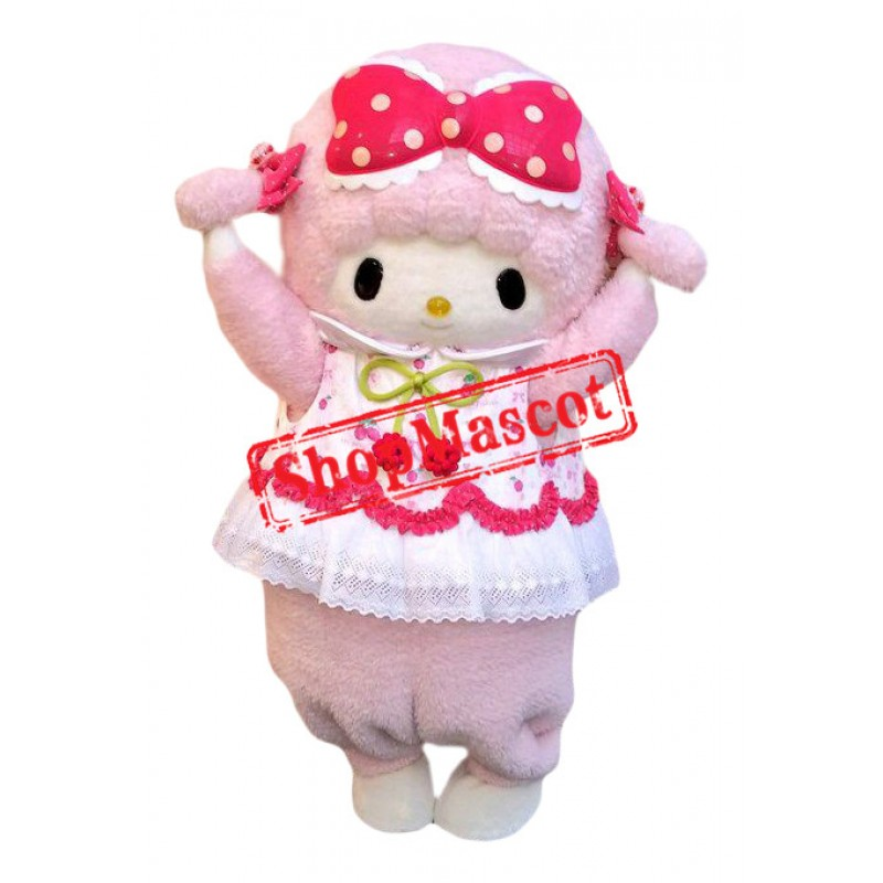 Superb Lovely Pink Sheep Mascot Costume