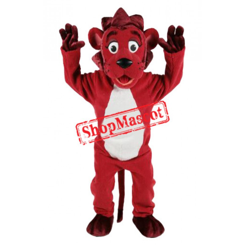 Lovable Red Lion Mascot Costume