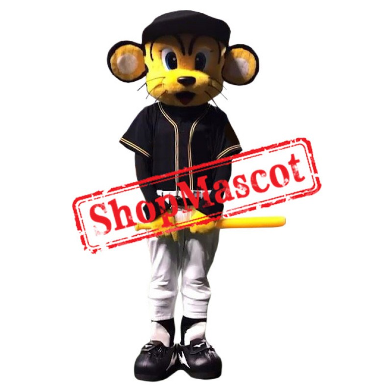 Baseball Tiger Mascot Costume with Black Suit
