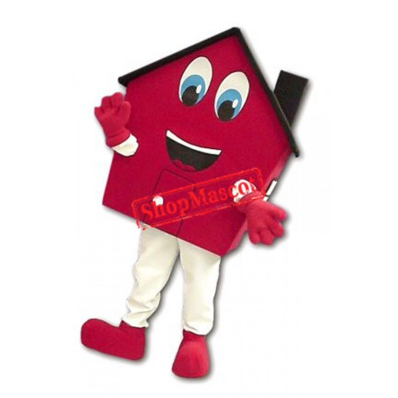 Friendly Red House Mascot Costume