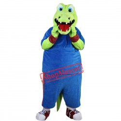 Hot Sale Crocodile Alligator Plush Mascot Costume Adult Size Fancy Dress Suit Free Shipping