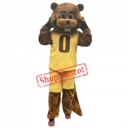 Sport Yellow Suit Beaver Mascot Costume Adult Size Fancy Dress