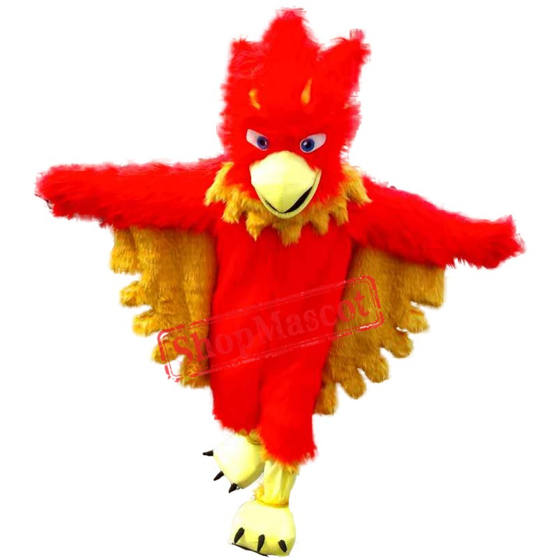 Hot Sale Red Phoenix Long Fur Mascot Costume Adult Size