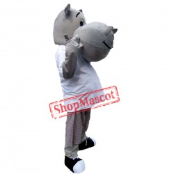 Hot Sale Gray Hippo Mascot Costume Adult Size