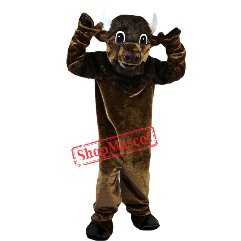 Brown Fierce Bull Mascot Costume Adult Size