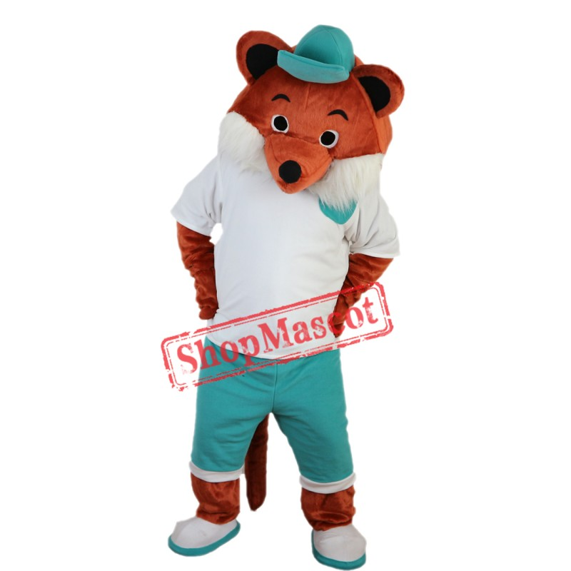 Cartoon Fox Mascot Costume with Blue Hat Adult Size Fox Costume