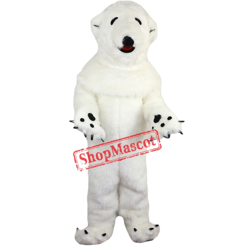Realistic Polar Bear Mascot Costume Adult Size High Quality Fur White Polar Bear