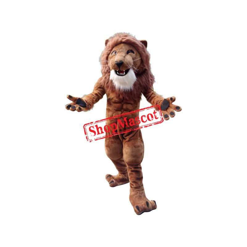 Strong Muscle Lion Mascot Costume