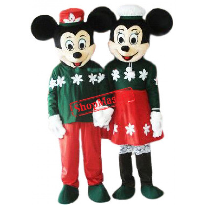 Lovely Christmas Mickey & Minnie Mascot Costume