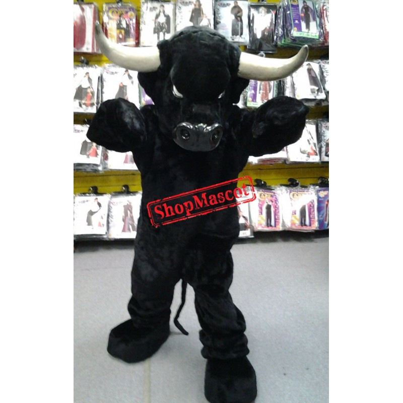 Superb Black Bull Mascot Costume