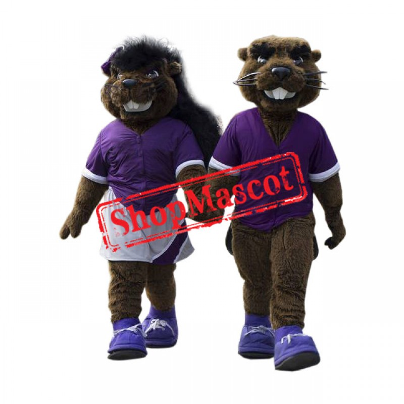Sport Beaver Couple Mascot Costume