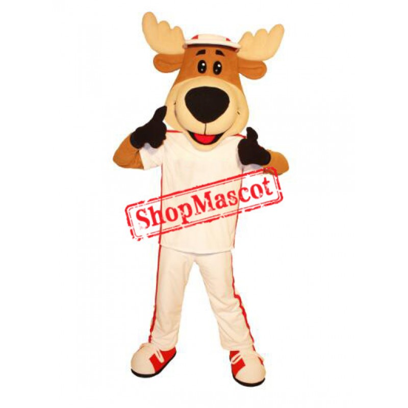 Smiling Lightweight Moose Mascot Costume