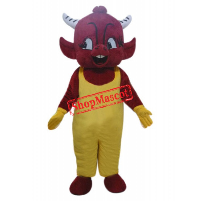 Red Devil Boy Mascot Costume