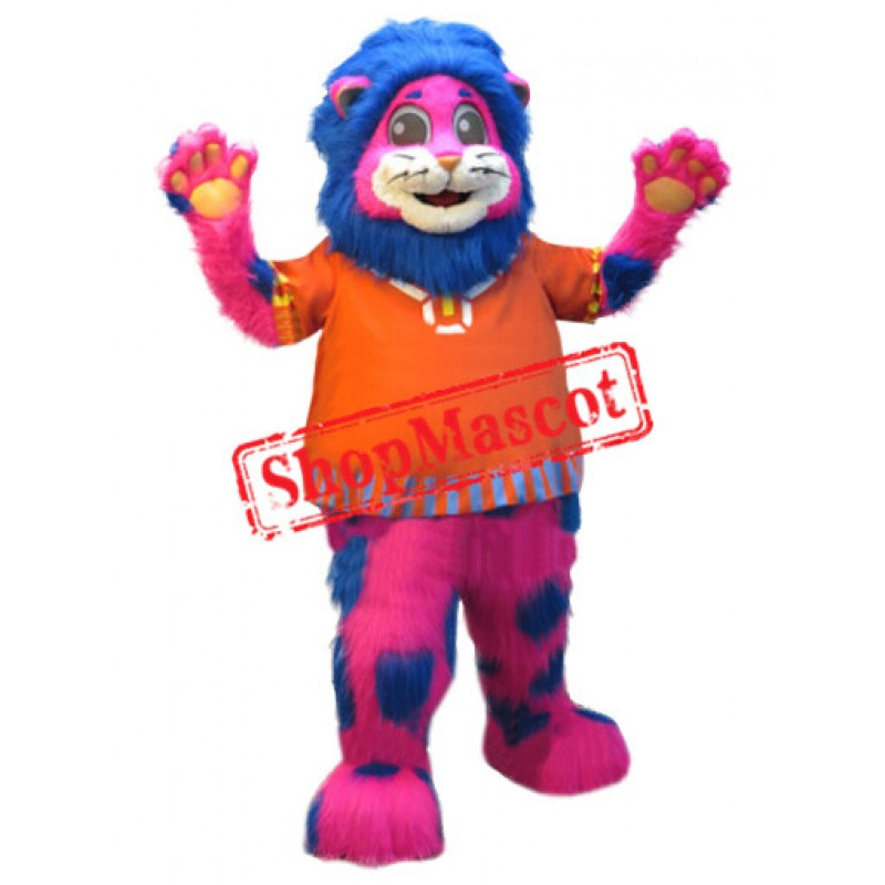Pink & Blue Lion Mascot Costume