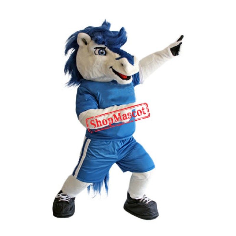 White & Blue Horse Mascot Costume