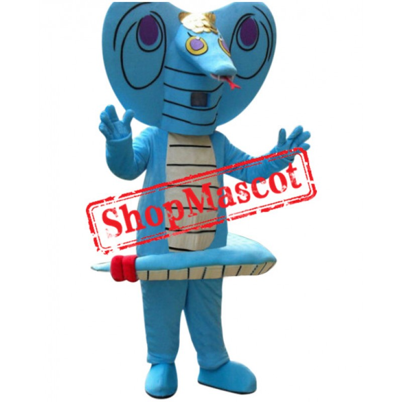 Affordable Blue Snake Mascot Costume