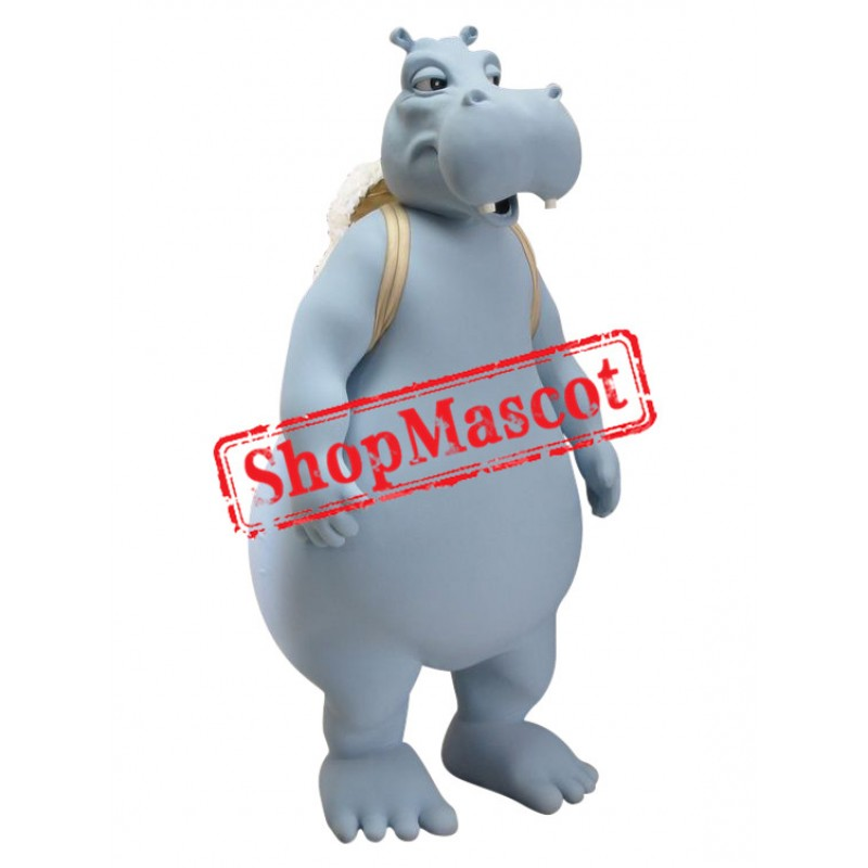 Superb Grey Hippo Mascot Costume