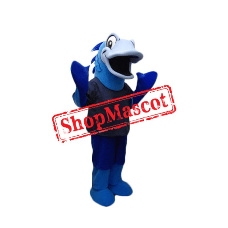 Sport Blue Fish Mascot Costume