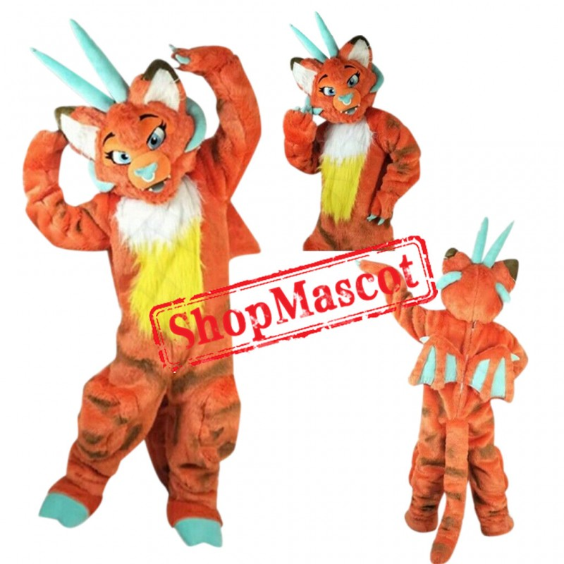 Superb Orange Dragon Mascot Costume