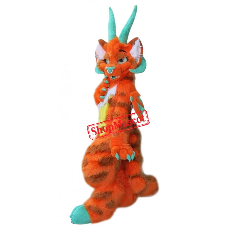 Orange Dragon Realistic Mascot Costume