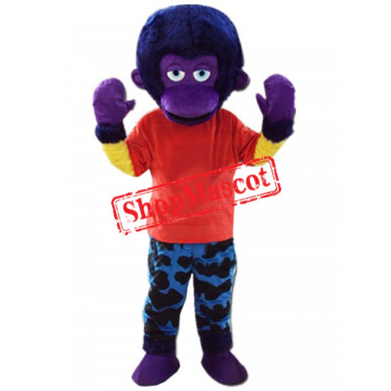 Purple Orangutan Mascot Costume