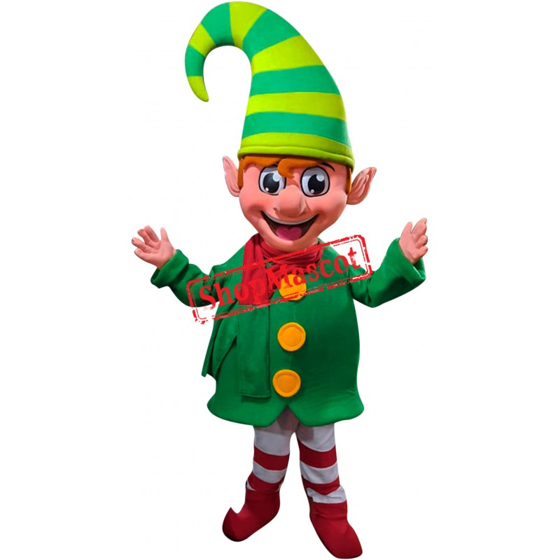 Superb Happy Christmas Elf Mascot Costume