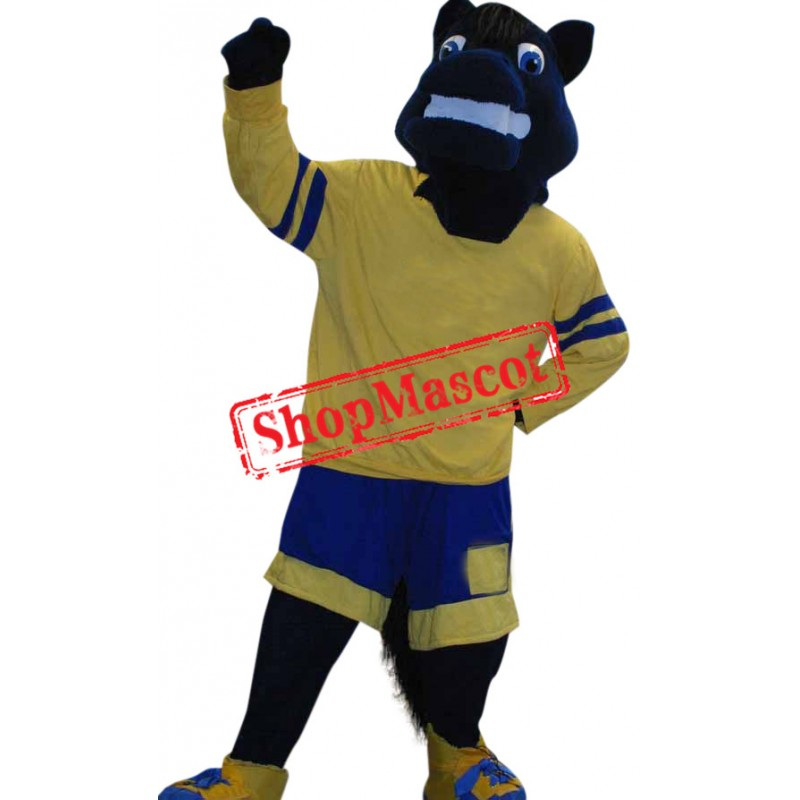 Superb Sport Black Horse Mascot Costume