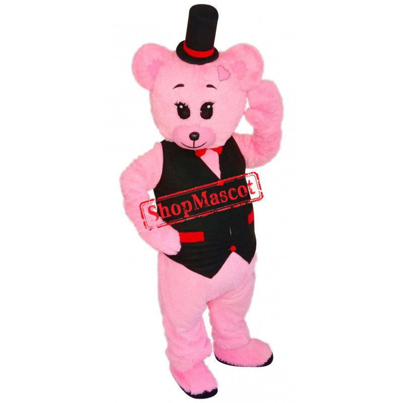 Super Pink Bear Mascot Costume