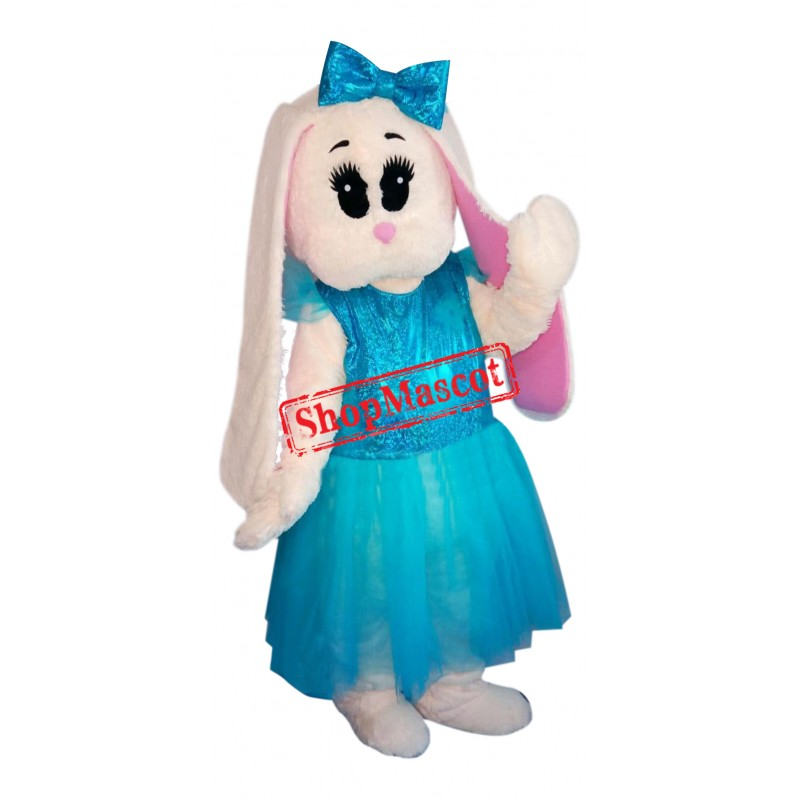 Blue Dress Bunny Mascot Costume