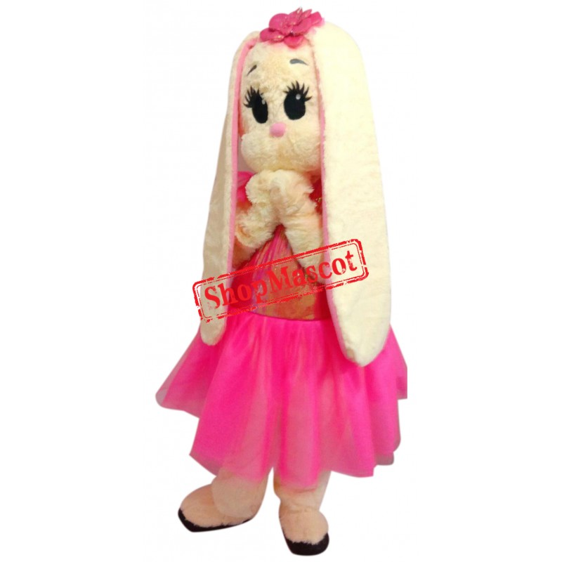 Pink Dress Bunny Mascot Costume