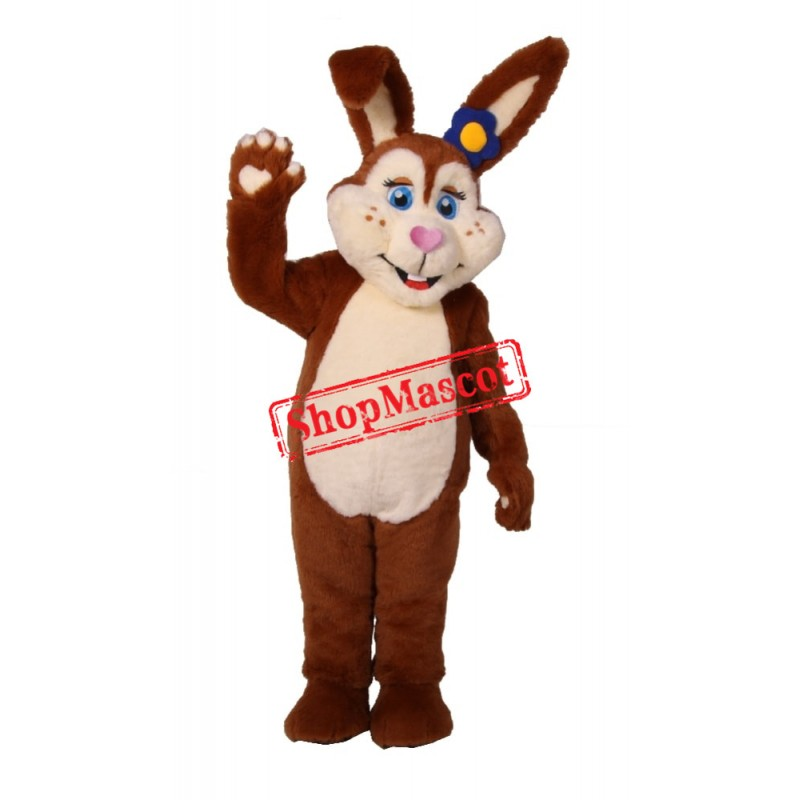 Brown Bunny Girl Mascot Costume