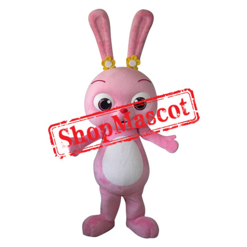 Superb Pink Bunny Mascot Costume