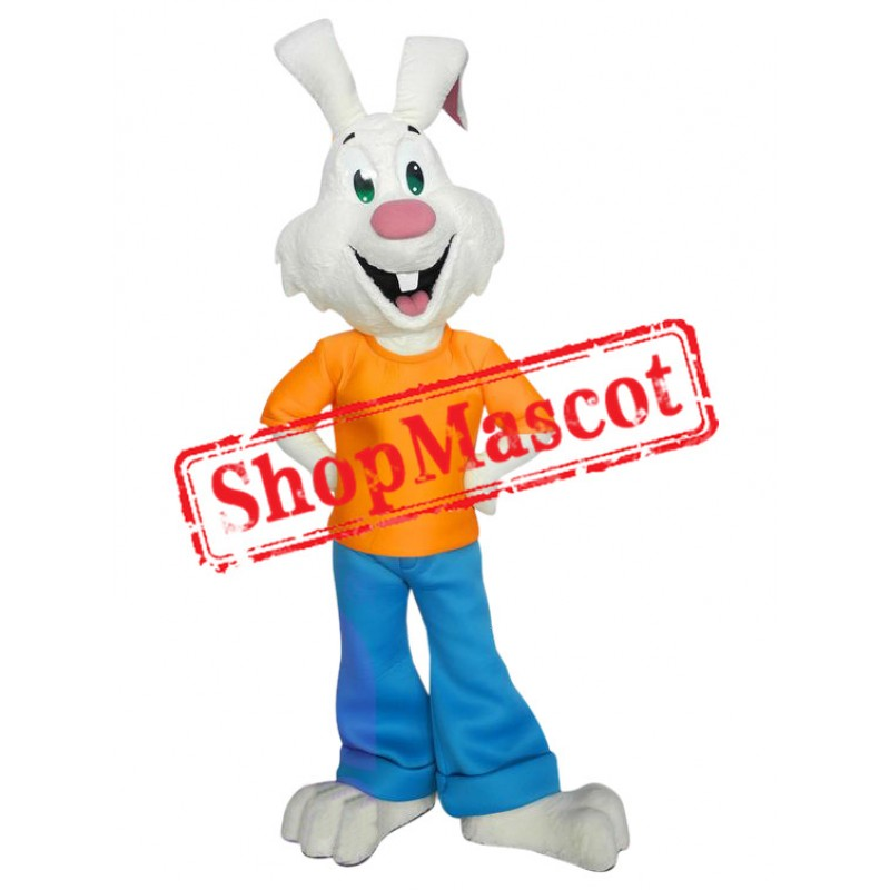 Superb All White Rabbit Mascot Costume
