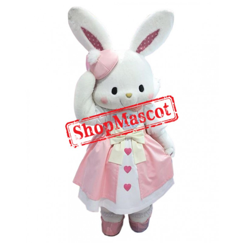 Pink Dress Rabbit Mascot Costume