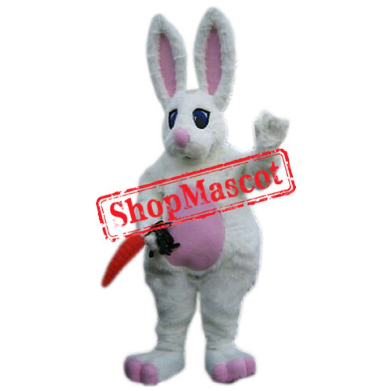 Superb White Easter Bunny Rabbit Mascot Costume