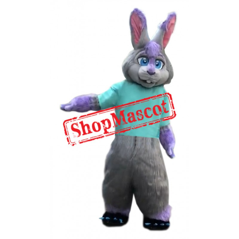 Purple & Grey Rabbit Mascot Costume