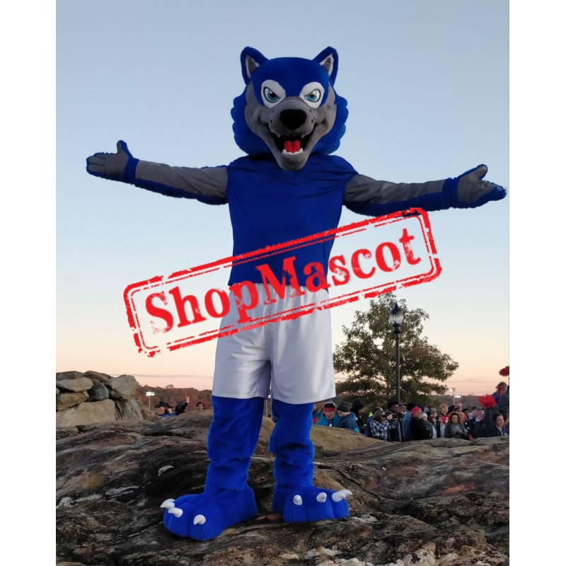 Sport Blue & Grey Wolf Mascot Costume