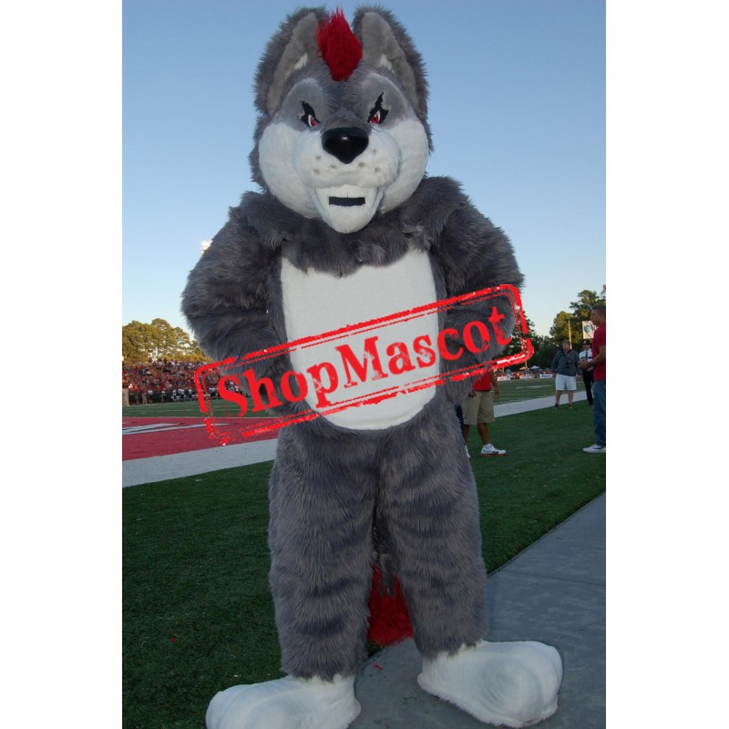 Superb Sport Grey Wolf Mascot Costume