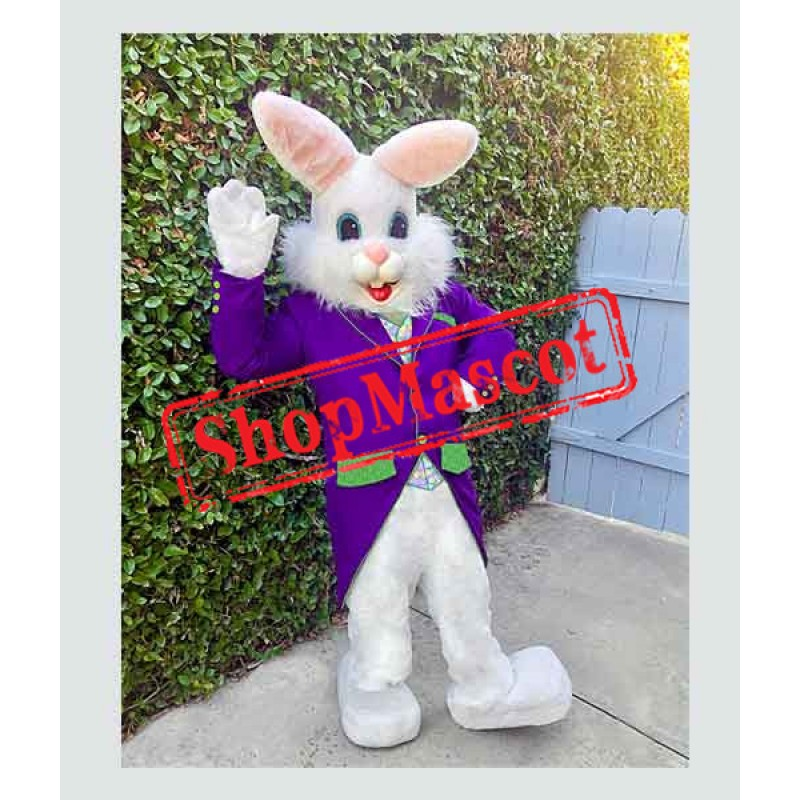 Purple Suit Easter Bunny Mascot Costume