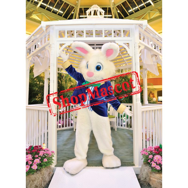 Blue Suit Easter Bunny Mascot Costume