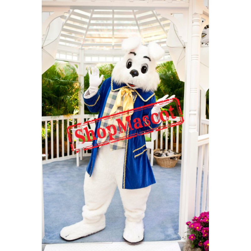 Superb Blue Suit Easter Bunny Mascot Costume