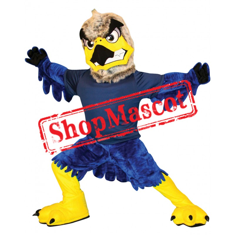 Grey & Blue Fierce Eagle Mascot Costume