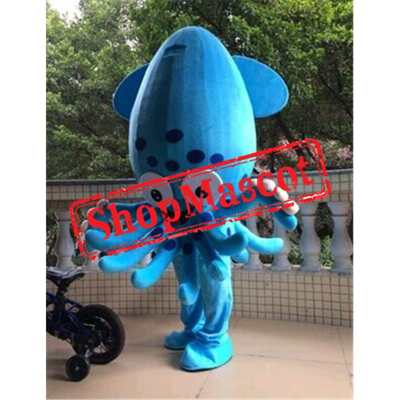 Blue Squid Mascot Costume